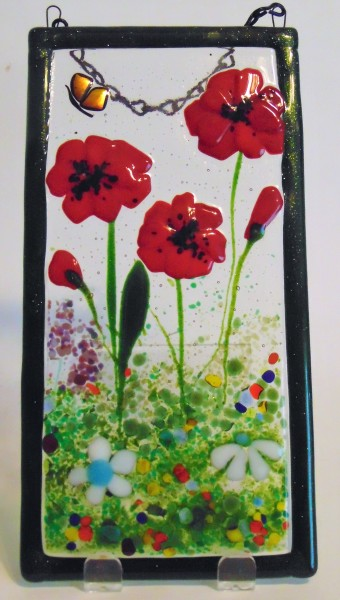 Garden Hanger-Red Poppies with Butterfly