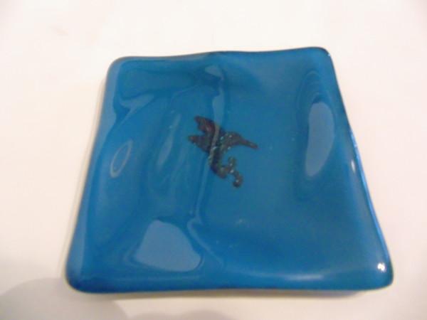 Small dish-Copper Hummingbird on steel blue
