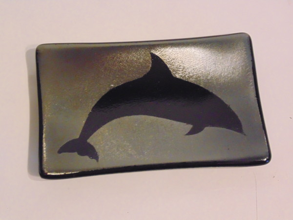 Soap Dish/Spoon Rest-Dolphin on Silver Irid