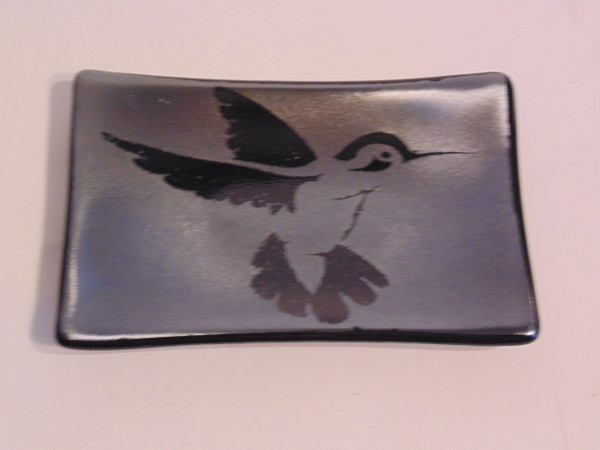 Soap Dish/Spoon Rest-Hummingbird on Silver Irid