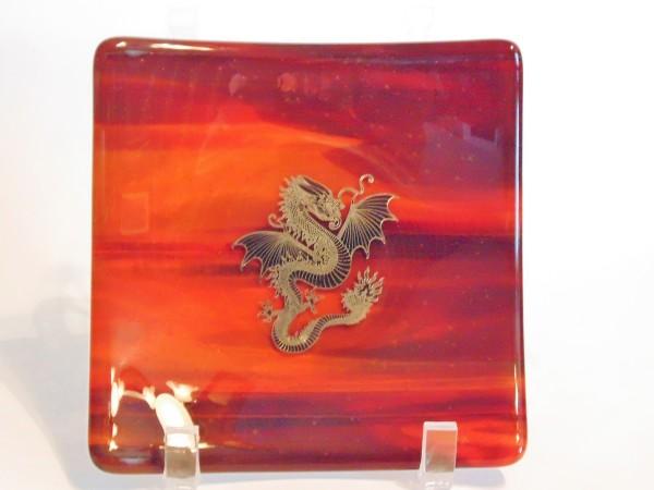 Small Plate with Metallic Dragon