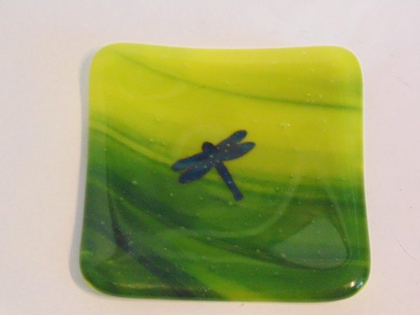 Small dish-Copper dragonfly on Yellow/Adventurine Green Streaky