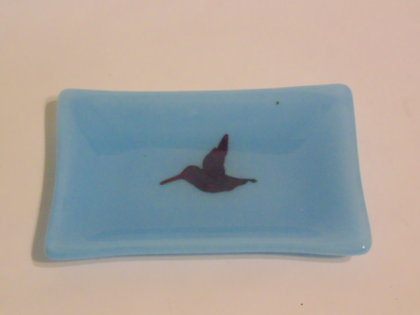 Soap Dish/Spoon Rest Blue with Copper Hummingbird