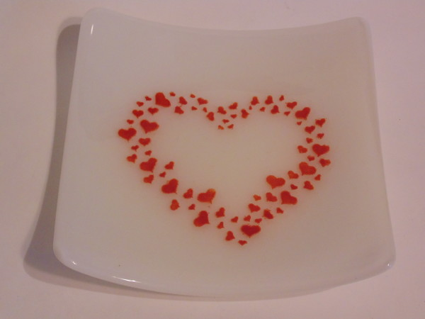 Small plate with Red Hearts