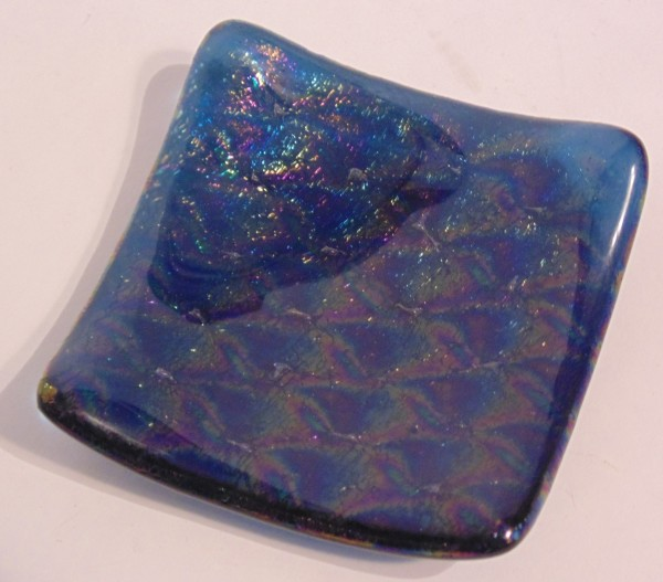 Small dish-Blue with Irid Patterned Glass