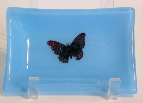Soap Dish-Blue with copper butterfly