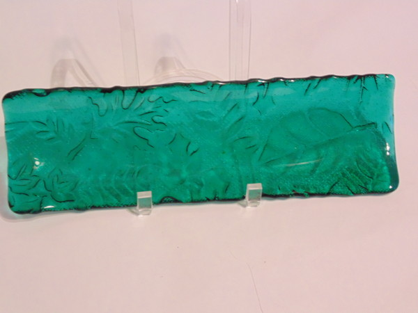 Long Tray-Emerald Green with Leaf Imprint