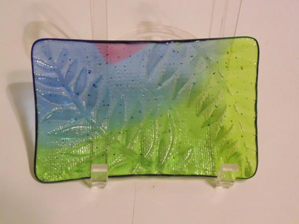 Soap Dish/Spoon Rest-Green, Blue, Purple with Fern Imprint