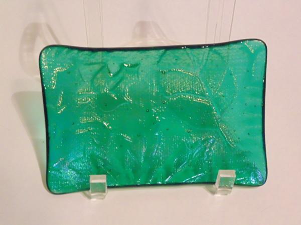 Soap Dish/Spoon Rest-Emerald Green Irid with Leaf Imprint