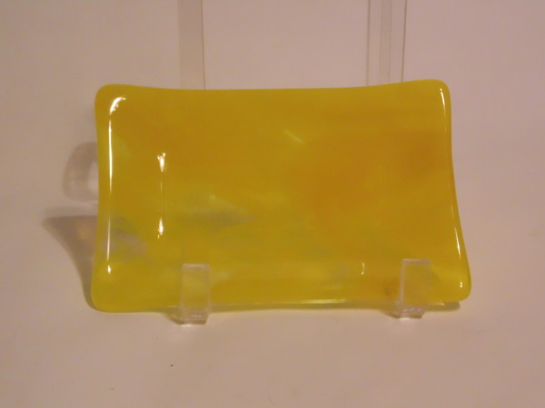 Soap Dish/Spoon Rest-Yellow/Clear Streaky
