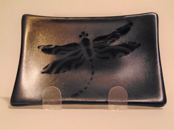 Soap Dish/Spoon Rest-Dragonfly on Silver Irid