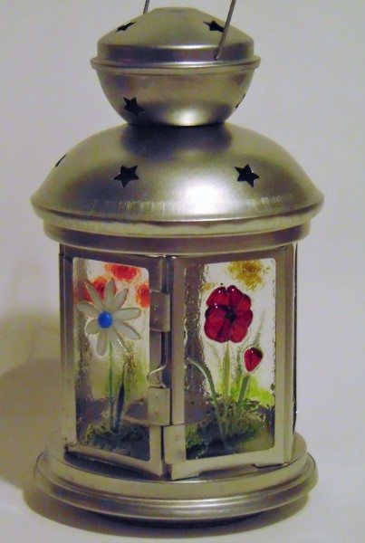 Lantern, Small Silver-With Flower Panels