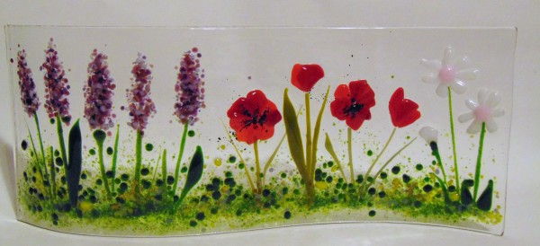 Garden Curve with Lavender, Poppies, Daisy