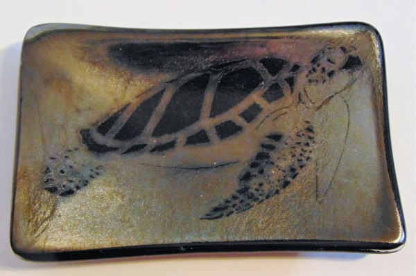 Soap Dish/Spoon Rest-Sea Turtle on Gold Irid