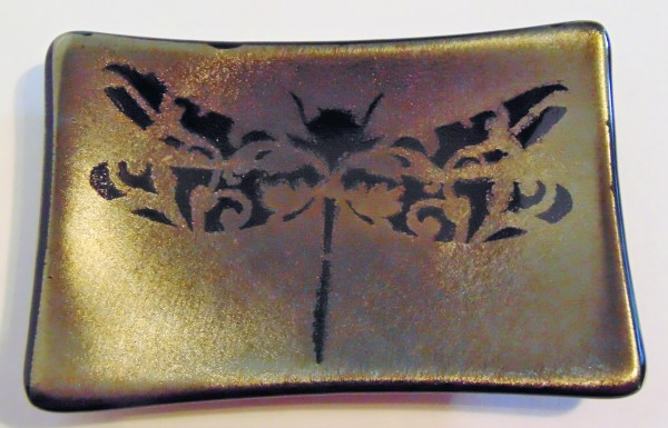 Soap Dish/Spoon Rest-Filigree Dragonfly on Gold Irid