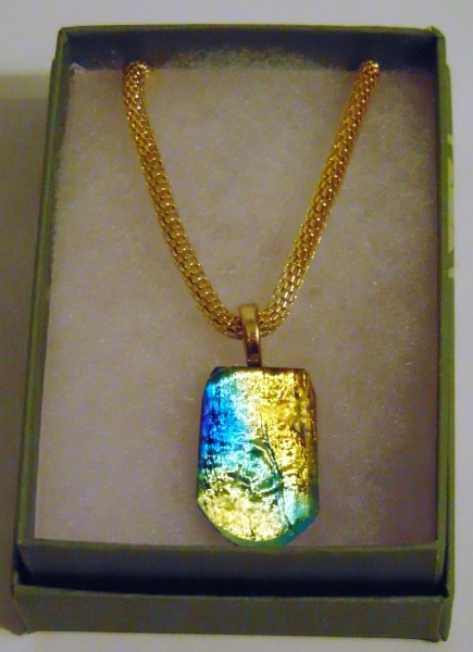 Necklace-Gold/Green/Blue Dichroic