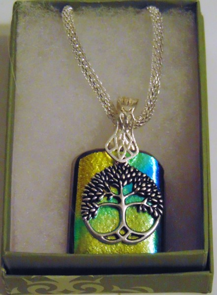 Necklace-Gold/Blue Dichroic with Tree of Life Charm