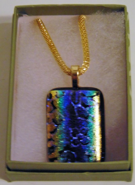 Necklace-Etched Dichroic with Floral Pattern