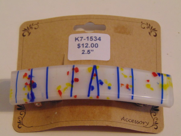 Barrette-Cobalt stringer with blue, red, yellow frit