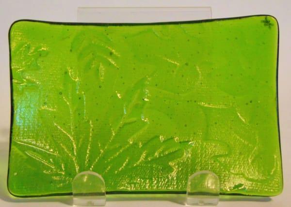 Soap Dish/Spoon Rest-Leaf Impression on Spring Green Irid