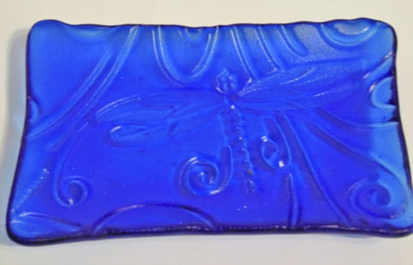 Soap Dish/Spoon Rest-Dragonfly Impression on Blue