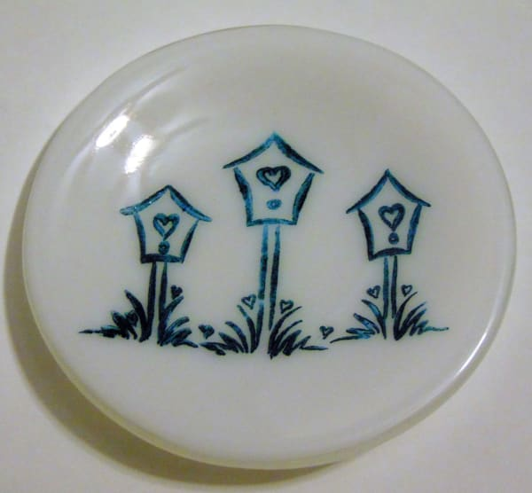 Round Dish with Birdhouses on White