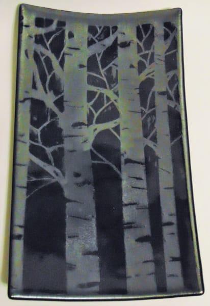 Birch Tree Plate on Silver Irid