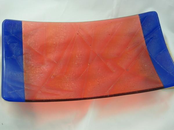 Rectangular Sushi Serving Plate--Orange and Cobalt