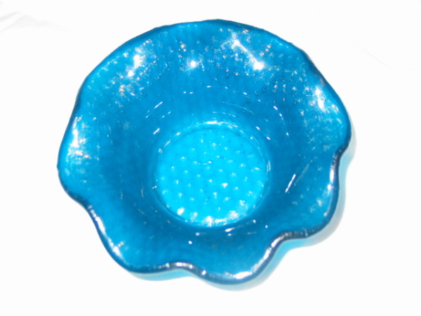 Ruffled Bowl-Turquoise Irid