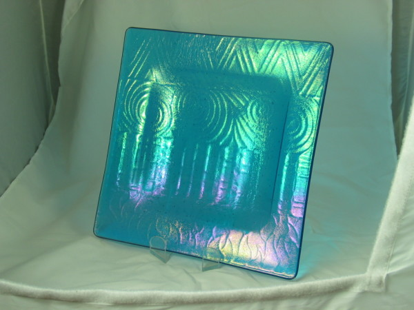 Irid Impressed Dish-Turquoise