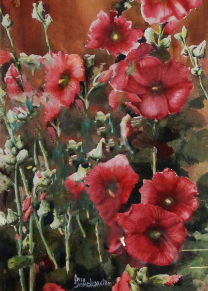 Hollyhocks Along the Fence
