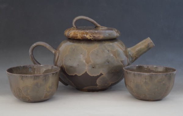 Dark Brown Teapot with 2 cups