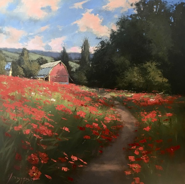 Poppies and Red Barn