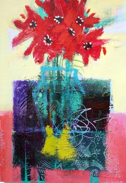 Red Flowers & Green Pears 1