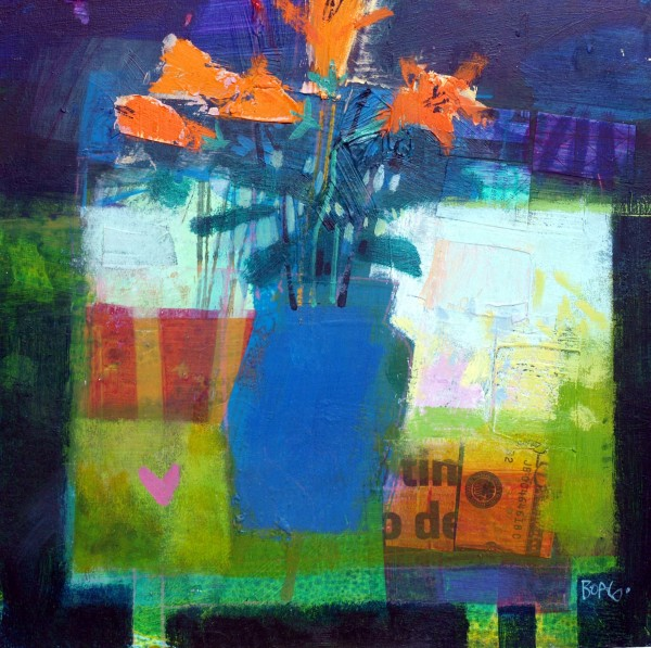 Blue vase, orange flowers