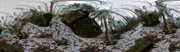 Snowfall on Rocks
