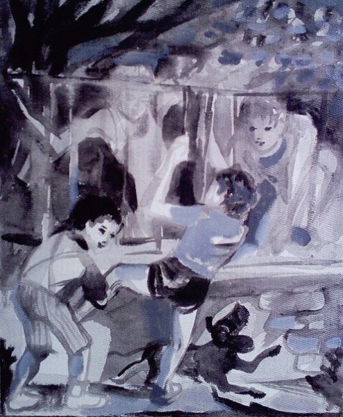 Kids jumping fence - after a drawing