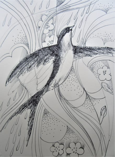Swallow with ink
