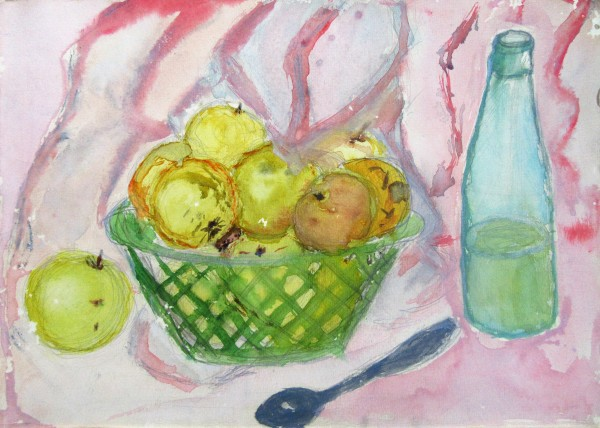 Still Life with yellow apples and pink drapery
