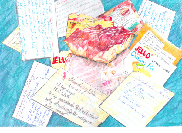 """""""Cheesecake with Recipes on Formica Table"""""""