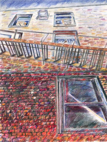 """Fire Escape on a Brick Building"""
