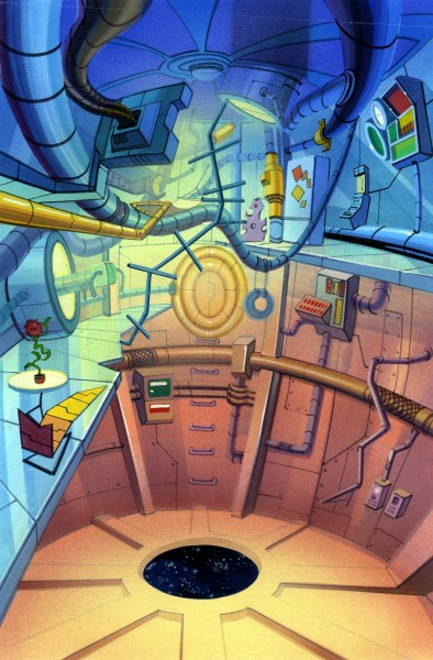 Captain Simian and the Space Monkeys - Background Concept - Spydor's Quarters