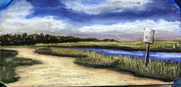 """Sunday morning meditational """"No Wake, Faunce Landing, Absecon, NJ"""" 10x6 Pastel on prepared paper."""
