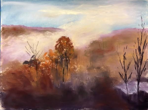 """Smokey Mountain Morning 1"" 12x9 Pastel on sanded paper"