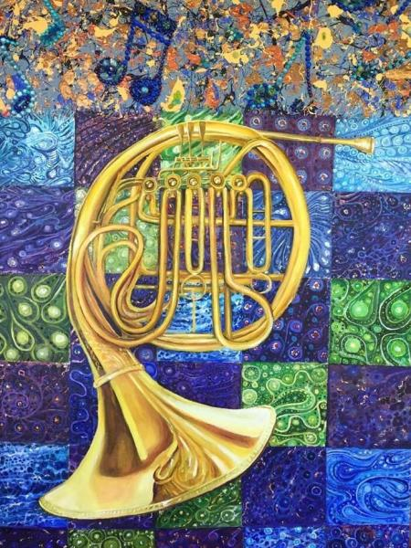 French Horn with Blue Note Border