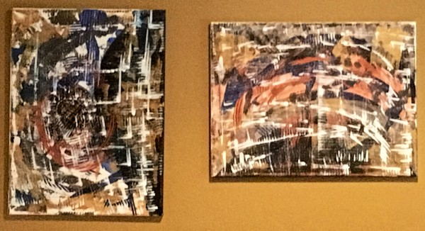 Diptych in Metallic Acrylic Paint