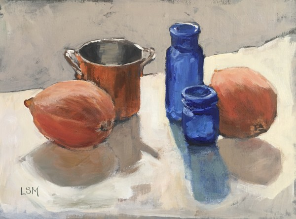 Teaming Up - Blue Bottle and Copper still life