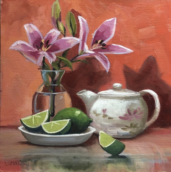 Pink Lilies, Limes and Teapot