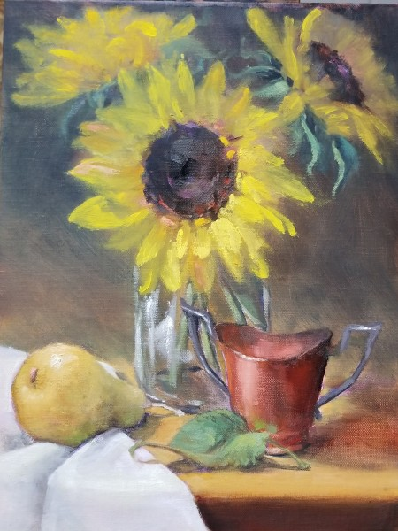 Sunflowers with Copper Cup