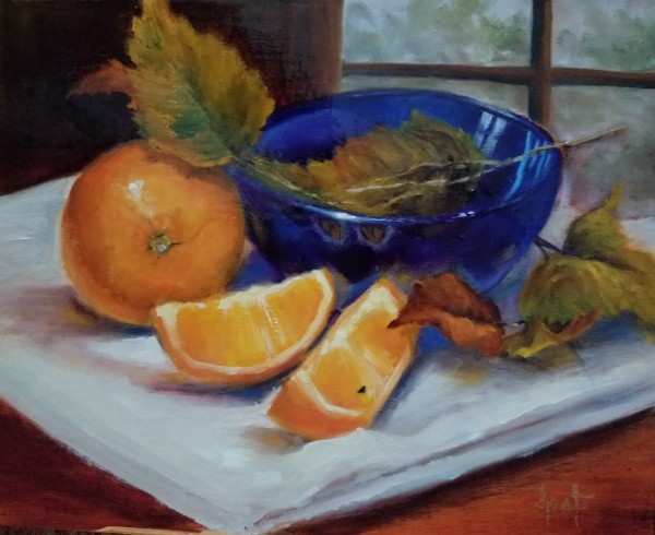 Oranges with Blue Bowl
